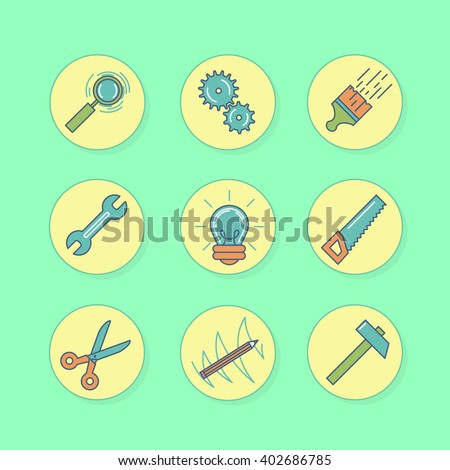 Series of icons with tools for repair. Signs in flat style. Symbols in line art. Set of icons in  round plates. Magnifying glass, light, hammer, gear, saw, pencil, scissors, wrench, brush with paint - stock vector
