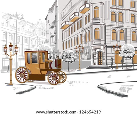 Series of sketches of beautiful old city views with a retro car - stock vector