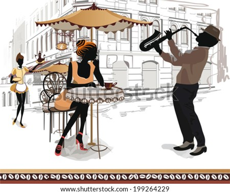 Series of street cafes in the city with musicians and people drinking coffee - stock vector