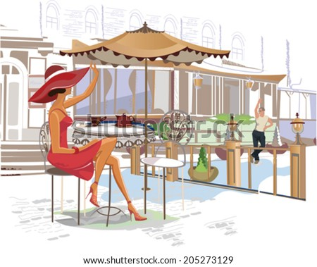 Series of street cafes in the city with people drinking coffee  - stock vector