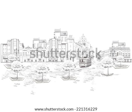 Series of street views in the old city, old houses and a tram - stock vector