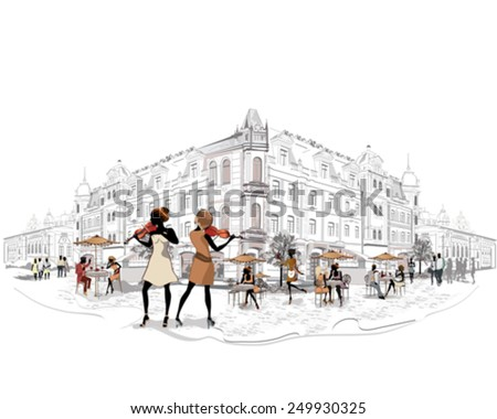 Series of the streets with people and musicians in the old city  - stock vector