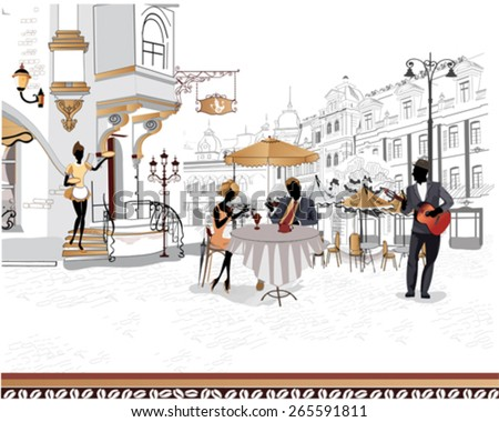 Series of the streets with people in the old city, guitarist - stock vector