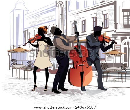 Series of the streets with people in the old city. Musicians - stock vector