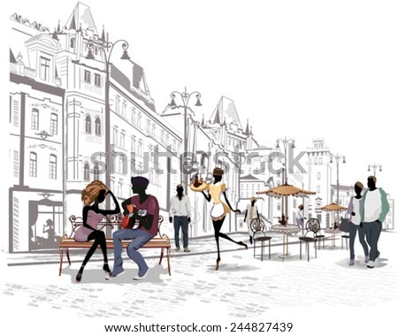 Series of the streets with people in the old city, romantic couple with a guitar sitting on the bench - stock vector