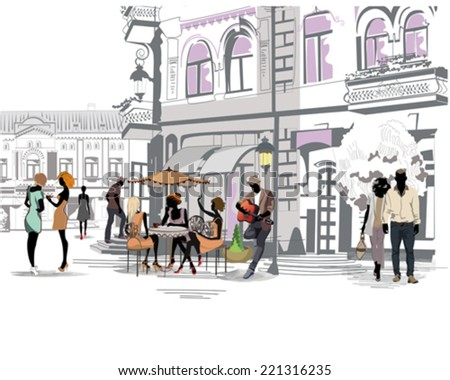 Series of the streets with people in the old city, street cafe and a musician with a guitar - stock vector