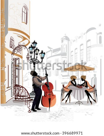 Series of the streets with people in the old city, street musicians.  - stock vector