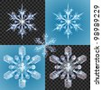 Series of transparent snowflake design elements shown on different backgrounds - stock vector