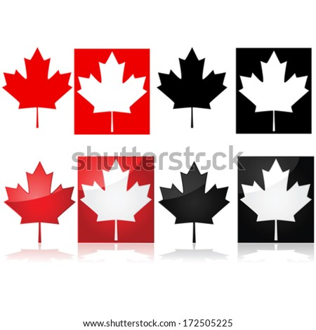 Series of vector icons depicting the Canadian maple leaf and red and white or black and white - stock vector