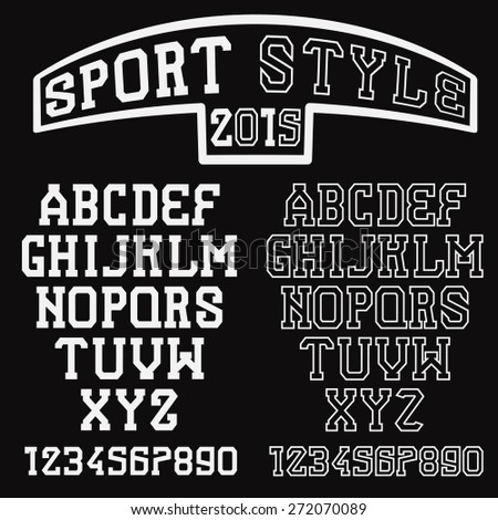 serif font in the retro style of sport - stock vector