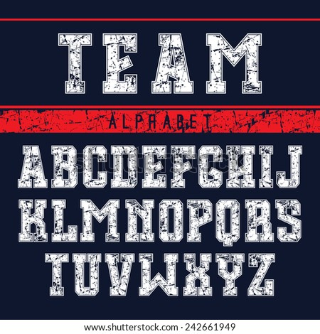 Serif font in the sport style with shabby texture. Light font on dark background - stock vector