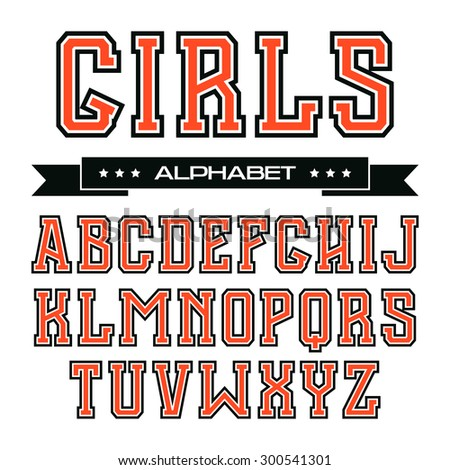 Serif font in the style of college with contour. Color font on white background  - stock vector