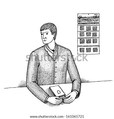 Serious man holds his document - stock vector