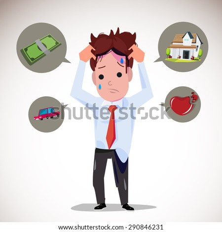 serious man with icons. money. car. house. broken heart - vector illustration - stock vector