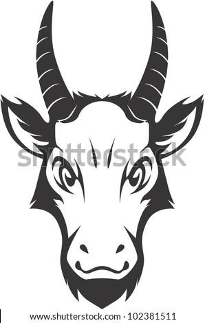 Serious Mountain Goat Illustration - stock vector