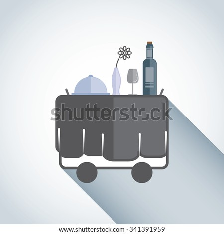Served with a glass of wine , food carts and wine. - stock vector