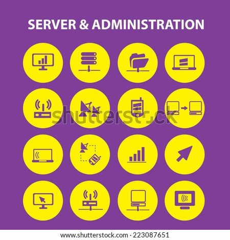 server, administration, computer, network isolated icons, signs, illustrations, silhouettes set, vector on background for web and mobile  - stock vector