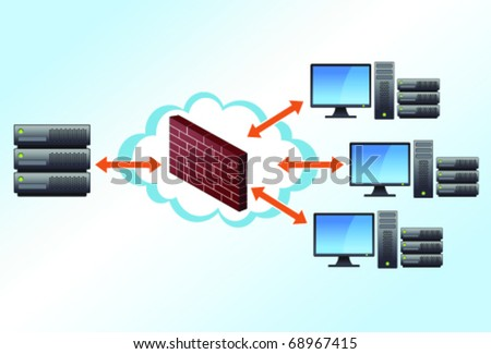 Server and workstations computing to each other through a firewall in a cloud. - stock vector