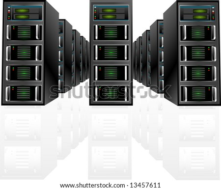Server array with detailed digital readouts and waveform. Best zoom in for a closer look. - stock vector