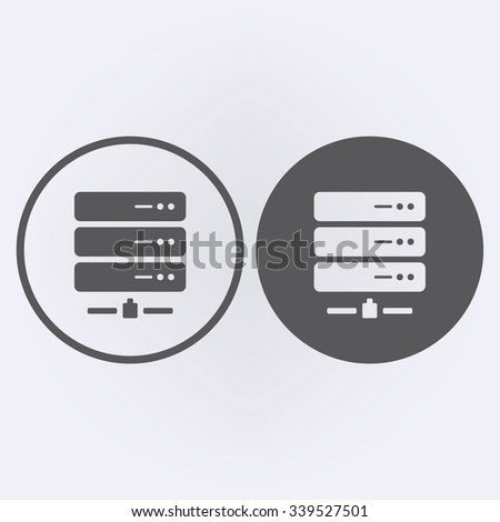 Server hosting icon set in circle . Vector illustration - stock vector