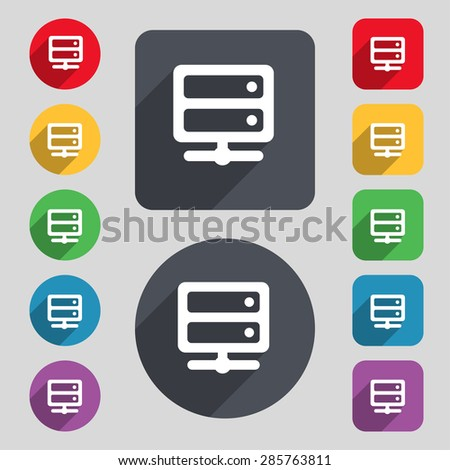 Server icon sign. A set of 12 colored buttons and a long shadow. Flat design. Vector illustration - stock vector
