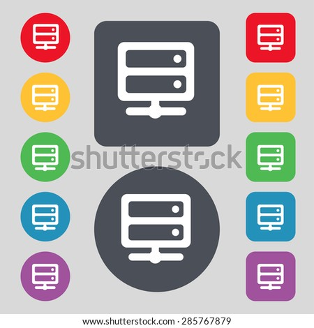 Server icon sign. A set of 12 colored buttons. Flat design. Vector illustration - stock vector