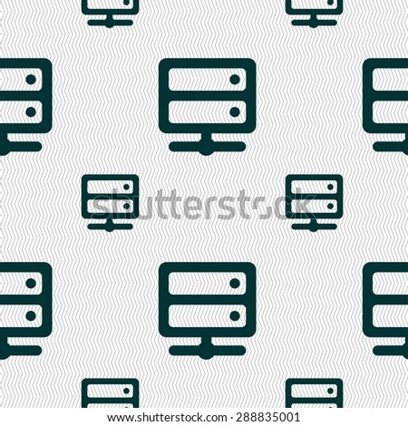 Server icon sign. Seamless pattern with geometric texture. Vector illustration - stock vector