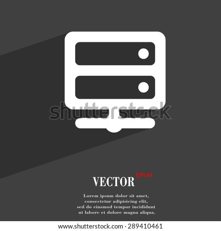 Server icon symbol Flat modern web design with long shadow and space for your text. Vector illustration - stock vector