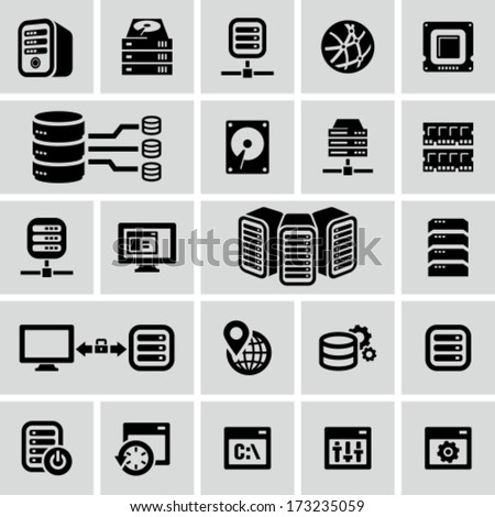 Server icons - stock vector