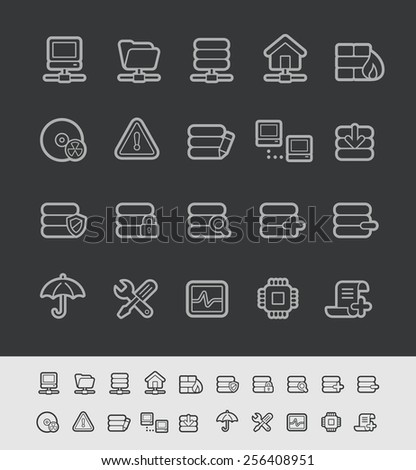 Server Icons // Black Line Series -- EPS 10+ Contain Transparencies - stock vector