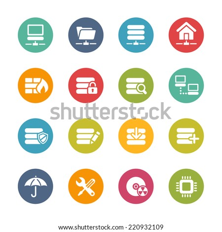 Server Icons // Fresh Colors -- Icons and buttons in different layers, easy to change colors. - stock vector