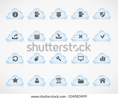 Server icons on light clouds. Image contains transparency - you can put it on every surface. 10 EPS - stock vector