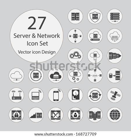 Server, network icons set.Vector illustration. - stock vector