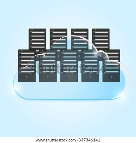 Server room towers on cloud. Vector Cloud concept with servers isolated on blue background. Server room datacenter. Vector office server room. Cloud computing concept. Creative and precise approach. - stock vector