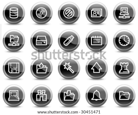 Server web icons, black glossy circle buttons series - stock vector