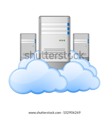 Servers and Clouds. Cloud Computing Concept. Vector Illustration - stock vector