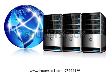 Servers and communication Internet World - stock vector
