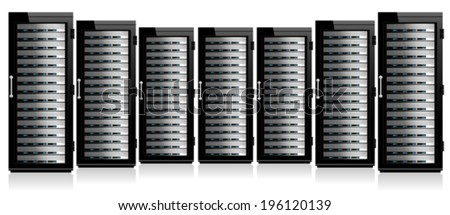 Servers in Cabinets - stock vector