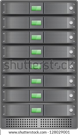 Servers in installed in rack. Vector illustration - stock vector