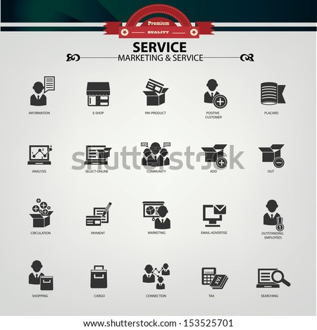 Service and Marketing icons,Black version,vector - stock vector