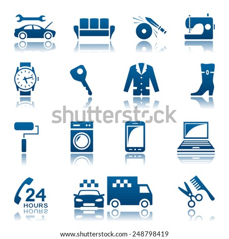 Service and repair icon set - stock vector
