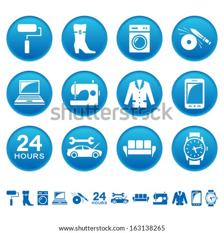Service and repair icons - stock vector