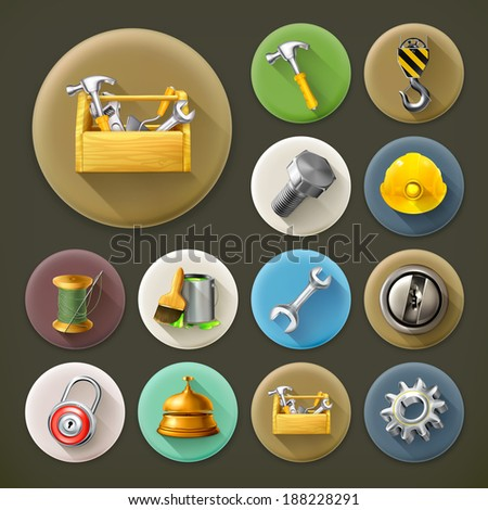 Service and repair, long shadow icon set - stock vector