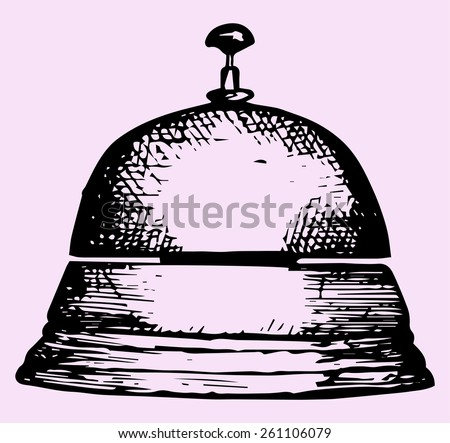 service bell, doodle style, sketch illustration - stock vector
