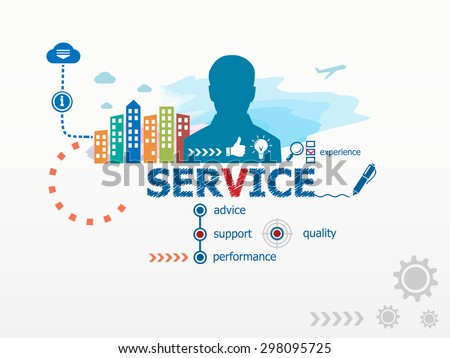Service concept and business man. Flat design illustration for business, consulting, finance, management, career. - stock vector