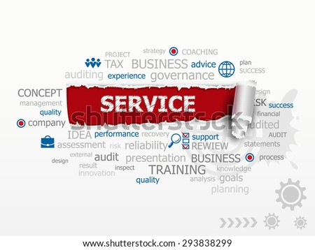 Service concept word cloud. Design illustration concepts for business, consulting, finance, management, career. - stock vector
