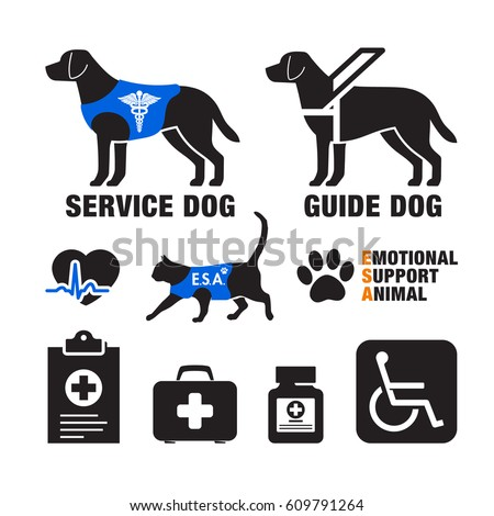 Service Dogs Emotional Support Animals Emblems Stock
