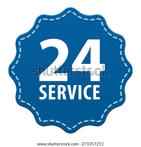 Service for customers available online around the clock or 24 hours a day and 7 days a week blue label with a seam icon isolated on white background. Vector illustration - stock vector