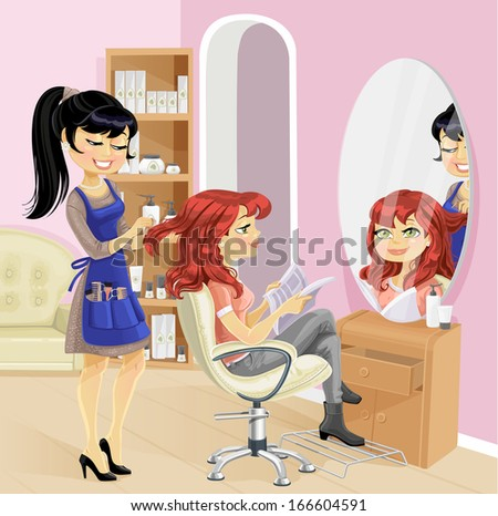 Service girl in a beauty salon at the hairdresser - stock vector
