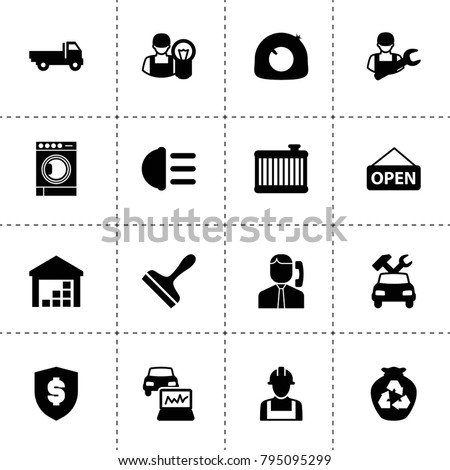 Service icons. vector collection filled service icons. includes symbols such as tire repair, car repair, car radiator, hight beem light. use for web, mobile and ui design.